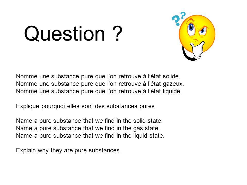 Question Nomme une substance pure que l'on retrouve à l'état solide.