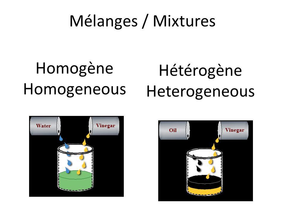Mélanges / Mixtures Homogène Homogeneous Hétérogène Heterogeneous