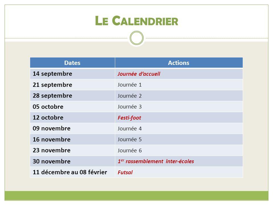 Le Calendrier Dates Actions 14 septembre 21 septembre 28 septembre