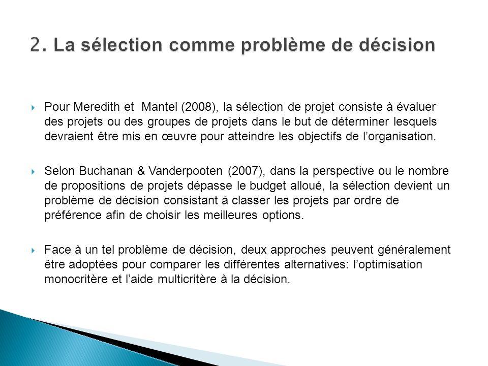 2. La sélection comme problème de décision
