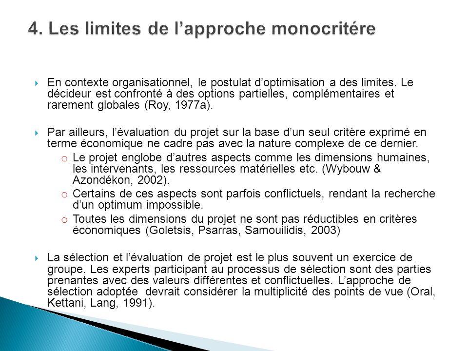4. Les limites de l'approche monocritére