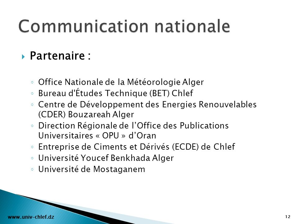 Communication nationale