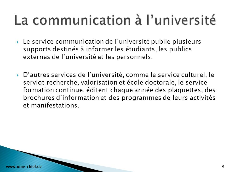 La communication à l'université