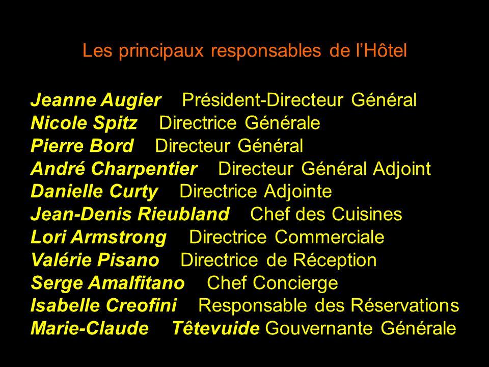 Les principaux responsables de l'Hôtel