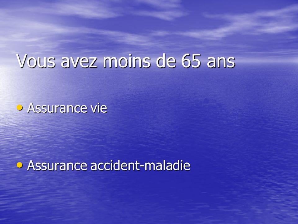 Vous avez moins de 65 ans Assurance vie Assurance accident-maladie
