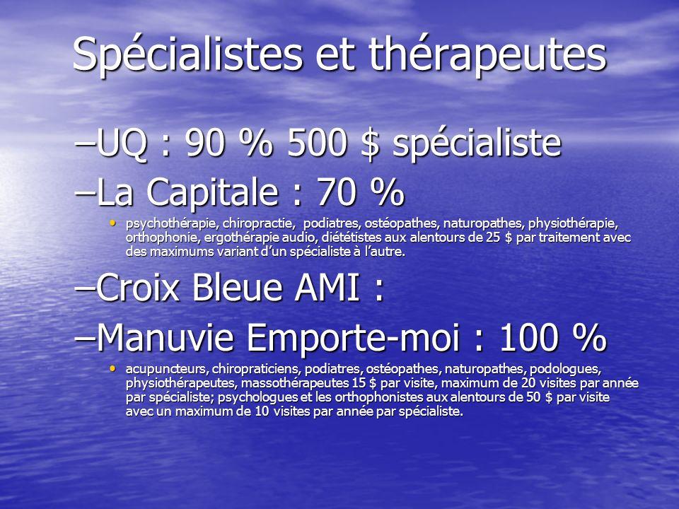 Spécialistes et thérapeutes