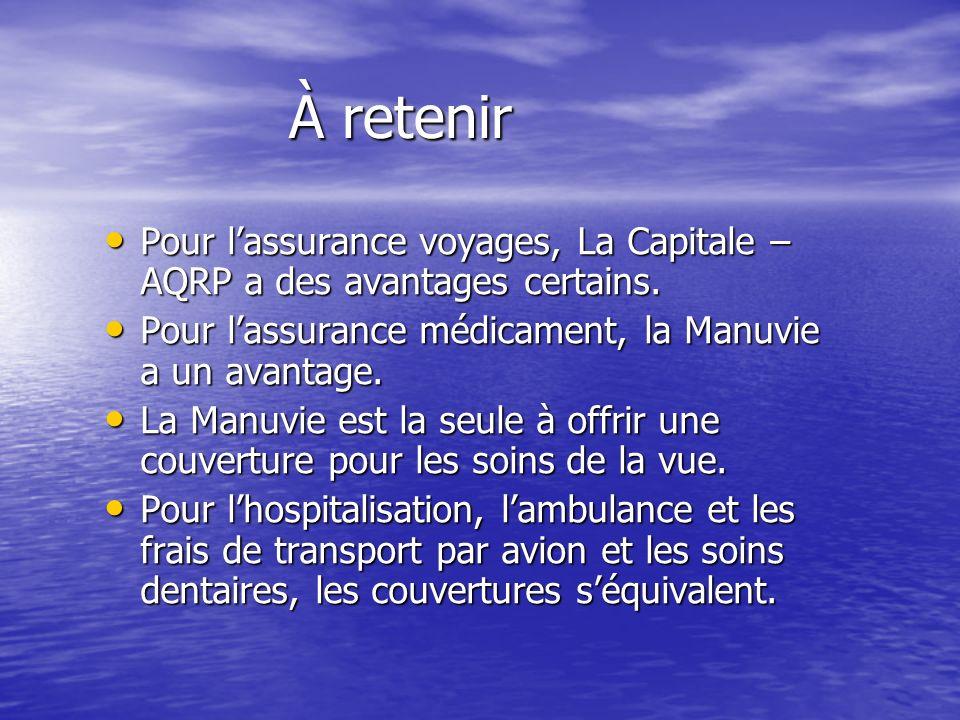 À retenir Pour l'assurance voyages, La Capitale –AQRP a des avantages certains. Pour l'assurance médicament, la Manuvie a un avantage.