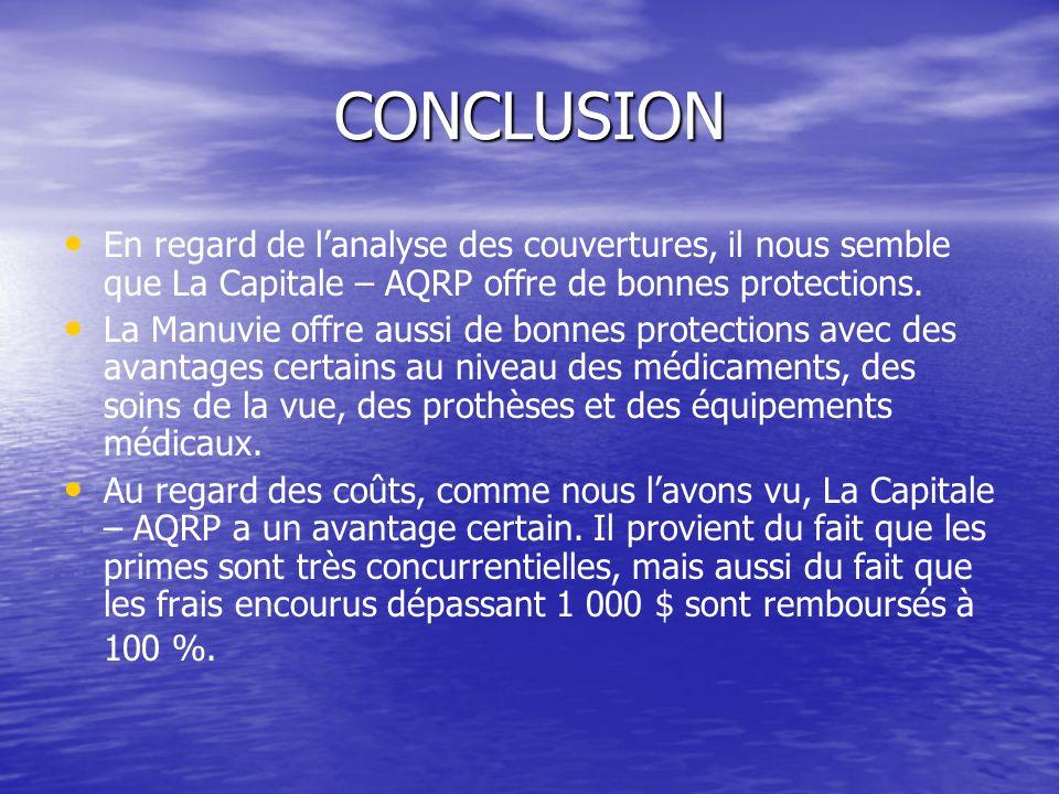 CONCLUSION En regard de l'analyse des couvertures, il nous semble que La Capitale – AQRP offre de bonnes protections.