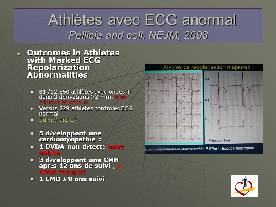 Athlètes avec ECG anormal Pellicia and coll. NEJM, 2008