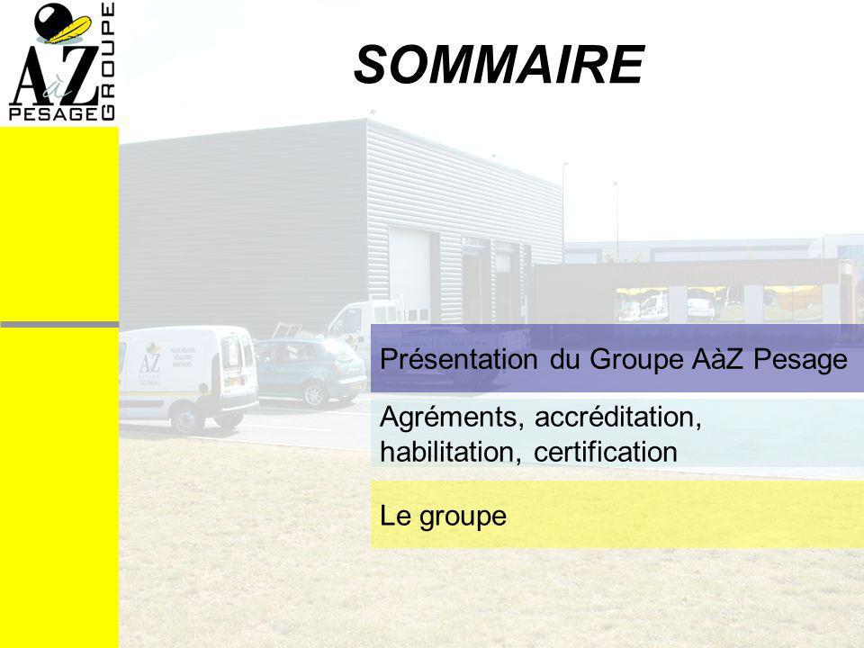 SOMMAIRE Présentation du Groupe AàZ Pesage