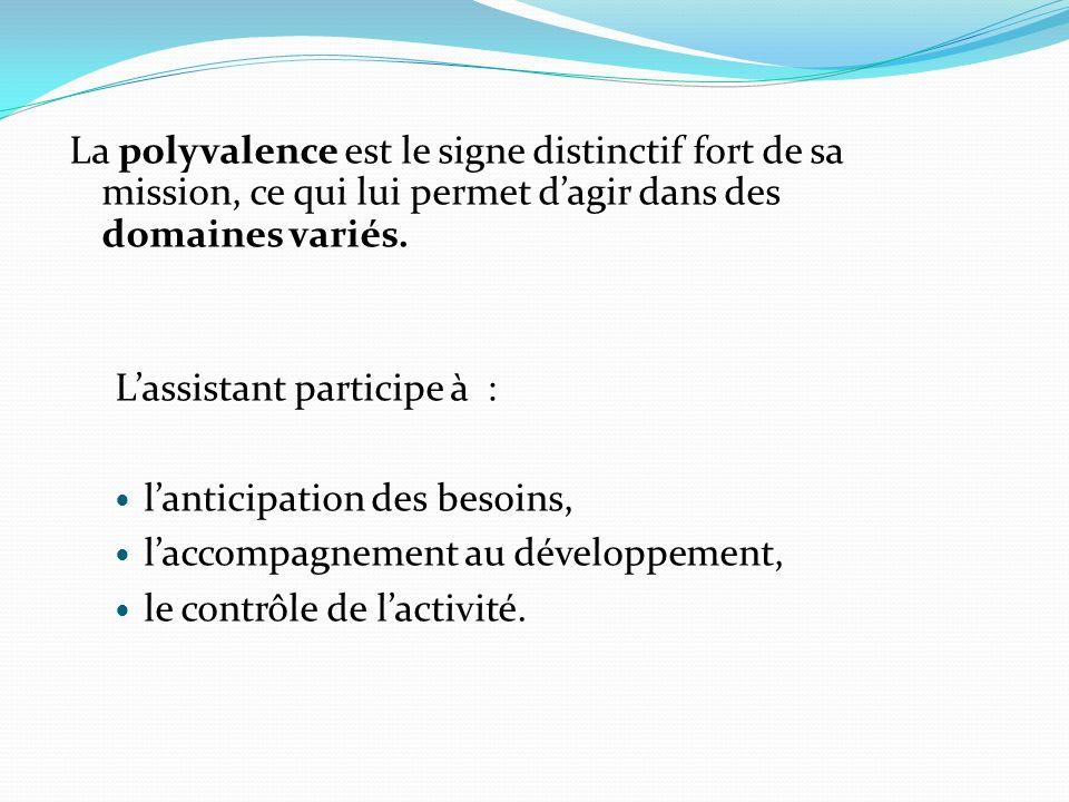 La polyvalence est le signe distinctif fort de sa mission, ce qui lui permet d'agir dans des domaines variés.