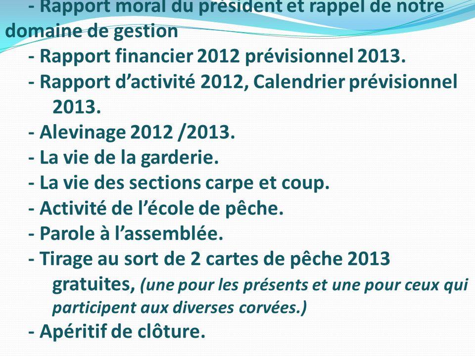 - Rapport moral du président et rappel de notre domaine de gestion