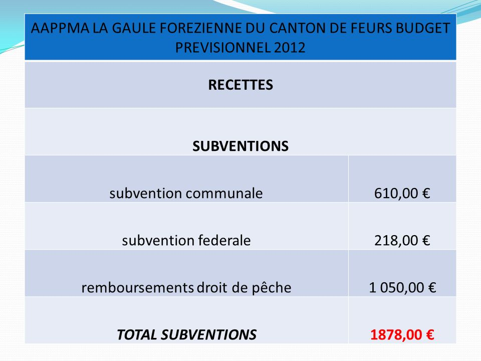 RECETTES SUBVENTIONS TOTAL SUBVENTIONS 1878,00 €
