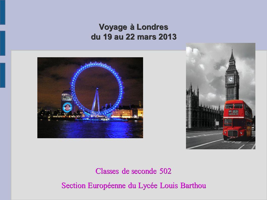 Voyage à Londres du 19 au 22 mars 2013