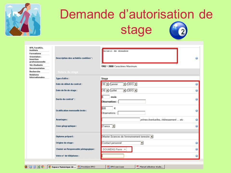 Demande d'autorisation de stage
