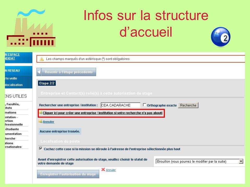 Infos sur la structure d'accueil