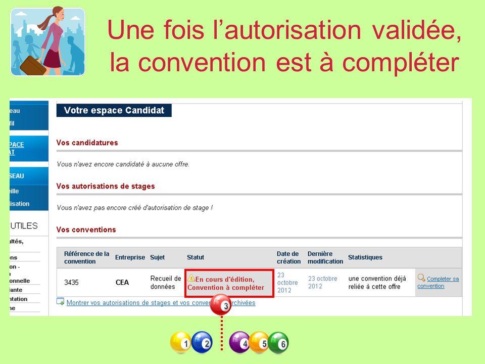 Une fois l'autorisation validée, la convention est à compléter