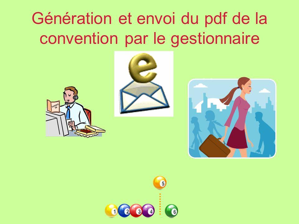 Génération et envoi du pdf de la convention par le gestionnaire