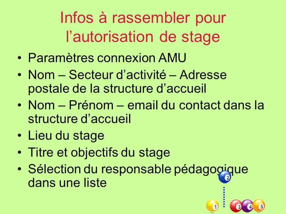 Infos à rassembler pour l'autorisation de stage
