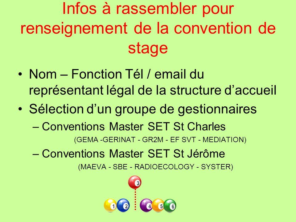 Infos à rassembler pour renseignement de la convention de stage