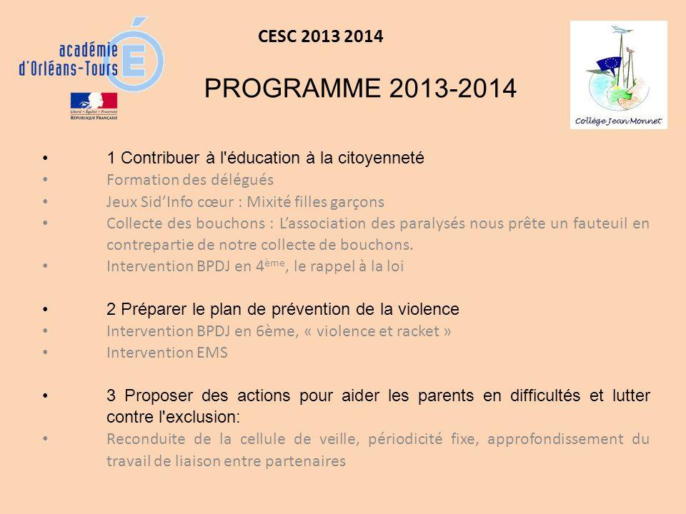 CESC 2013 2014 PROGRAMME 2013-2014. 1 Contribuer à l éducation à la citoyenneté. Formation des délégués.