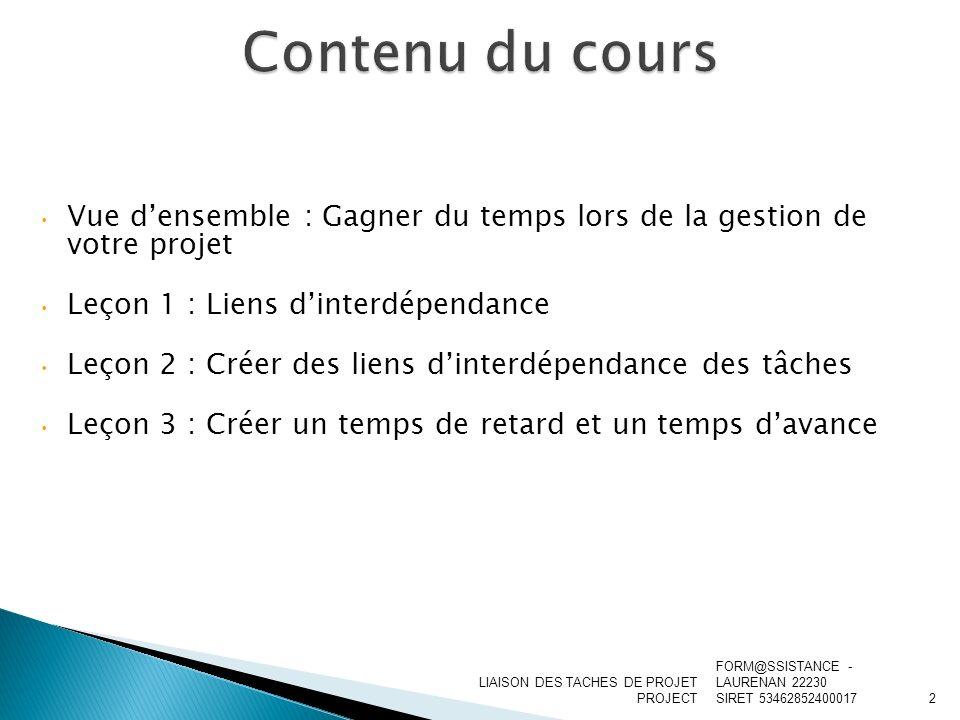 Contenu du cours Vue d'ensemble : Gagner du temps lors de la gestion de votre projet. Leçon 1 : Liens d'interdépendance.