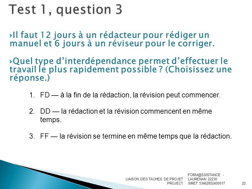 Test 1, question 3 Il faut 12 jours à un rédacteur pour rédiger un manuel et 6 jours à un réviseur pour le corriger.