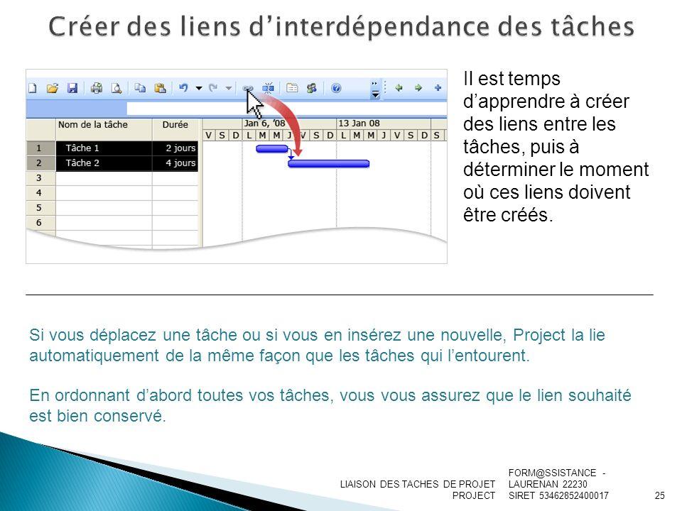 Créer des liens d'interdépendance des tâches