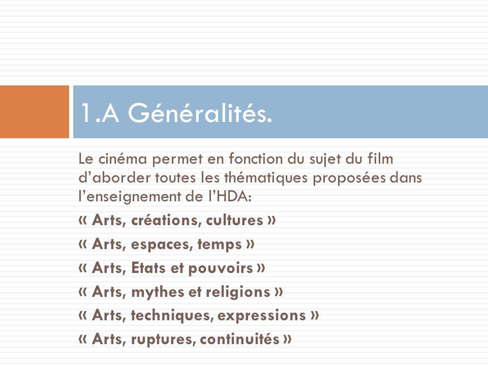 1.A Généralités. Le cinéma permet en fonction du sujet du film d'aborder toutes les thématiques proposées dans l'enseignement de l'HDA: