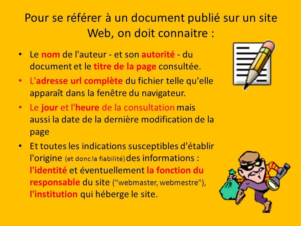 Pour se référer à un document publié sur un site Web, on doit connaitre :