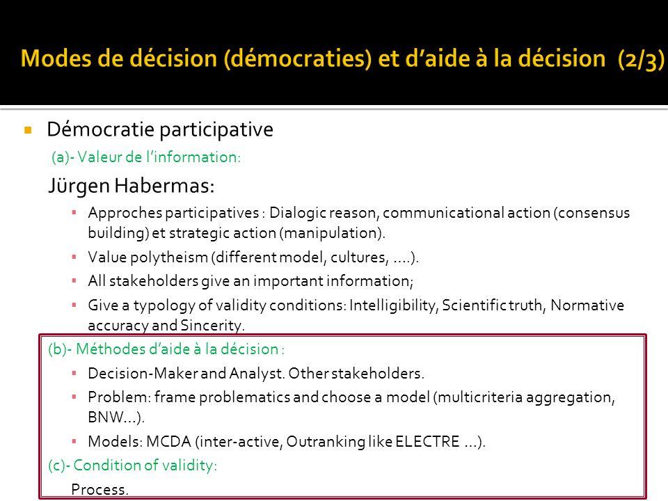 Modes de décision (démocraties) et d'aide à la décision (2/3)