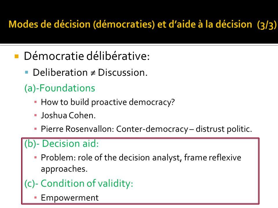 Modes de décision (démocraties) et d'aide à la décision (3/3)