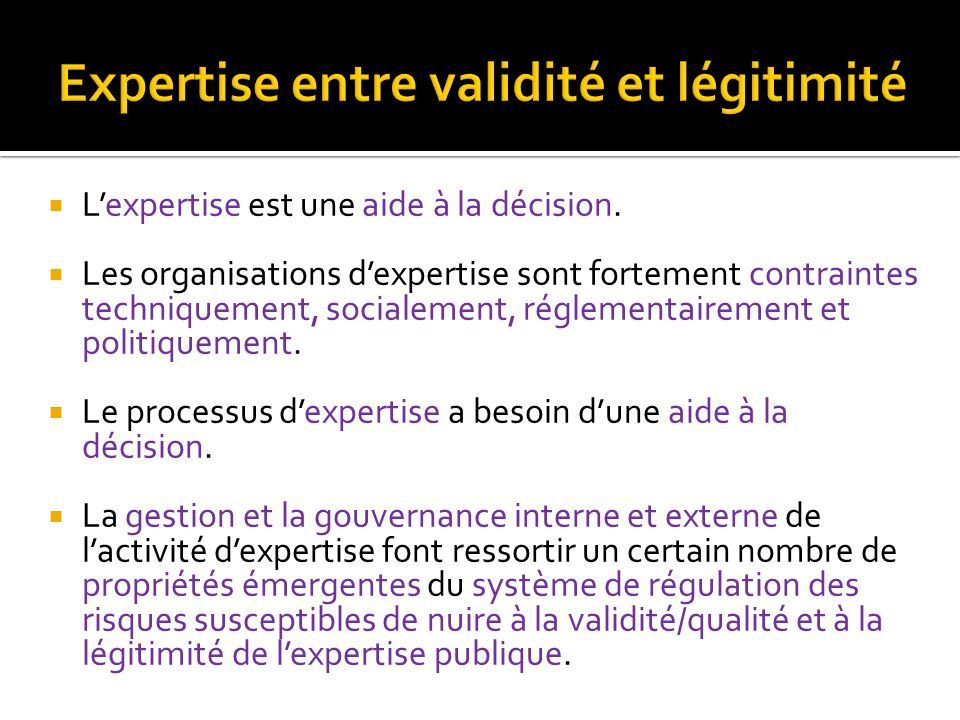 Expertise entre validité et légitimité