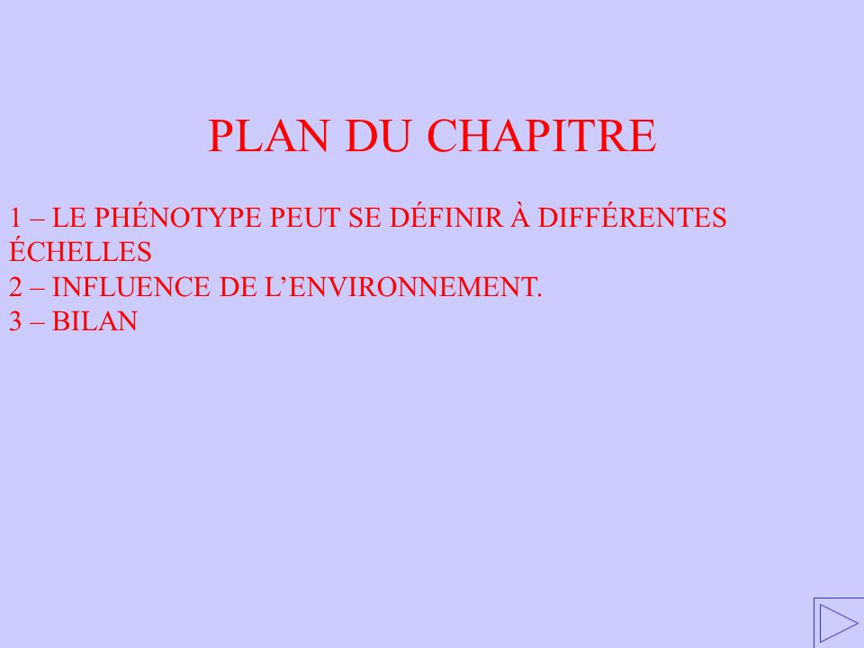 PLAN DU CHAPITRE 1 – LE PHÉNOTYPE PEUT SE DÉFINIR À DIFFÉRENTES ÉCHELLES. 2 – INFLUENCE DE L'ENVIRONNEMENT.