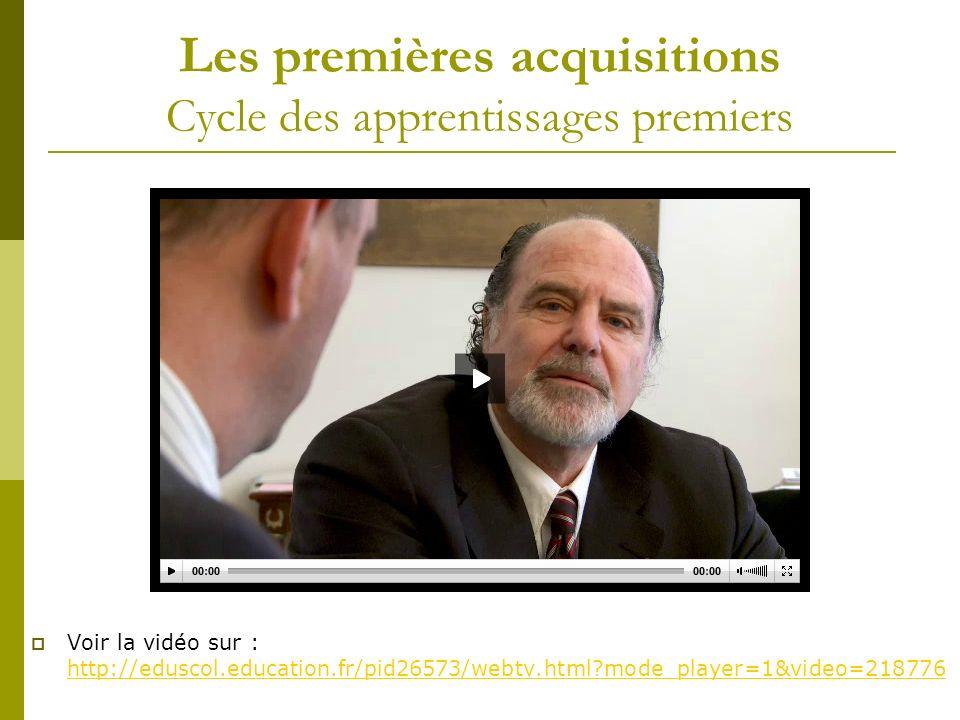 Les premières acquisitions Cycle des apprentissages premiers