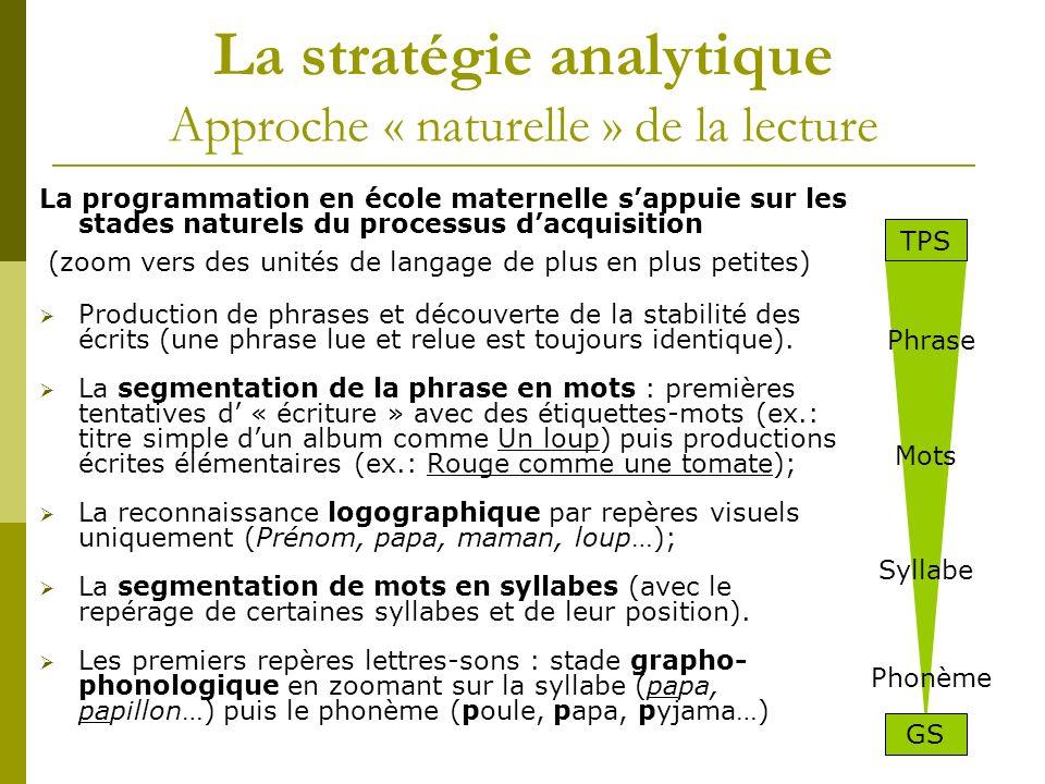 La stratégie analytique Approche « naturelle » de la lecture