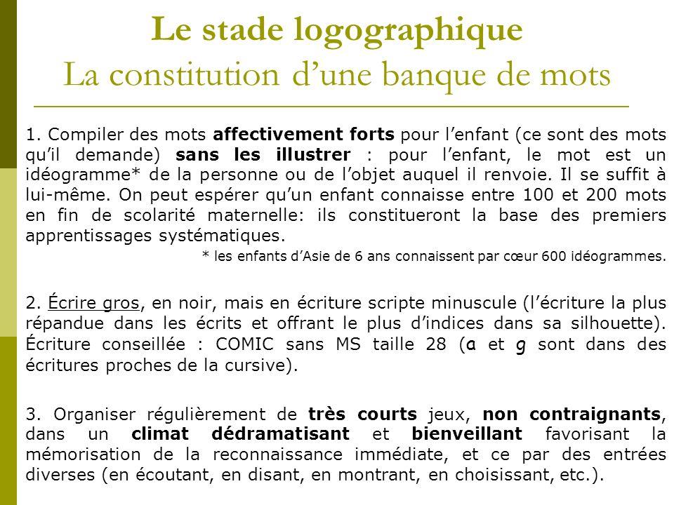 Le stade logographique La constitution d'une banque de mots