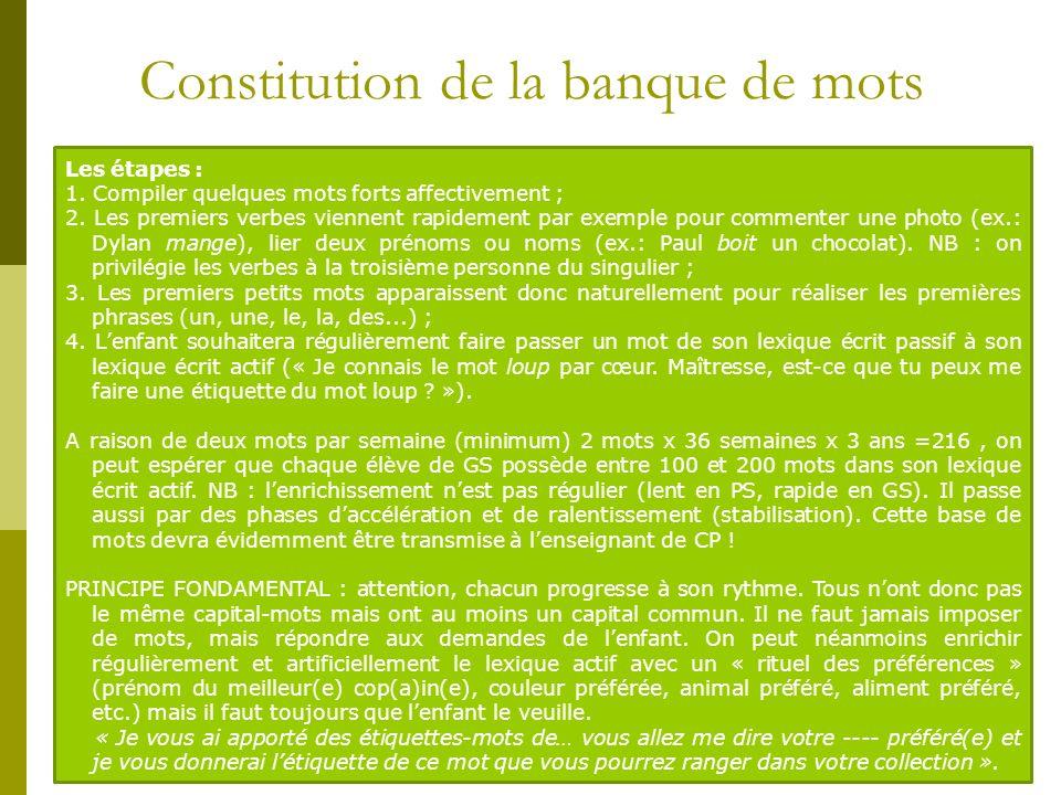Constitution de la banque de mots