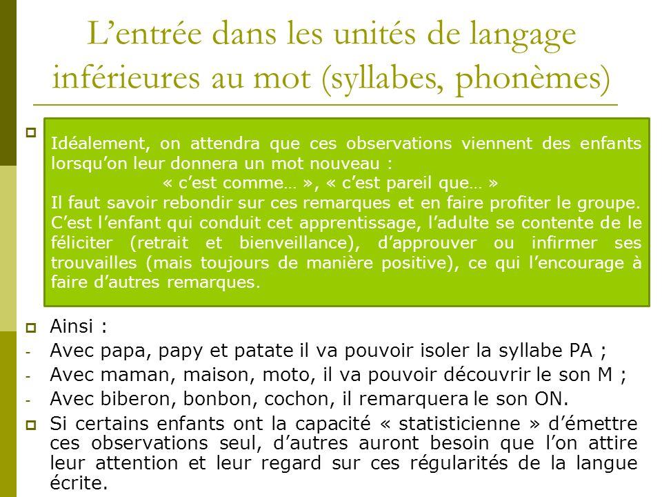 L'entrée dans les unités de langage inférieures au mot (syllabes, phonèmes)