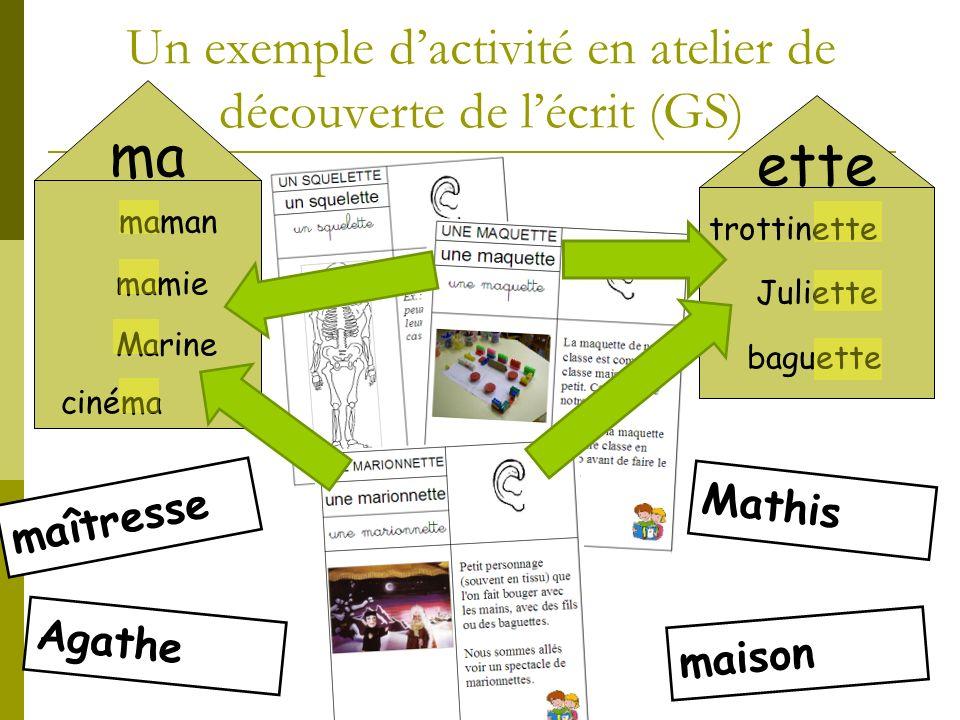 Un exemple d'activité en atelier de découverte de l'écrit (GS)