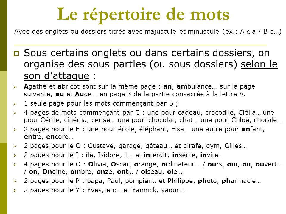 Le répertoire de mots Avec des onglets ou dossiers titrés avec majuscule et minuscule (ex.: A a a / B b…)