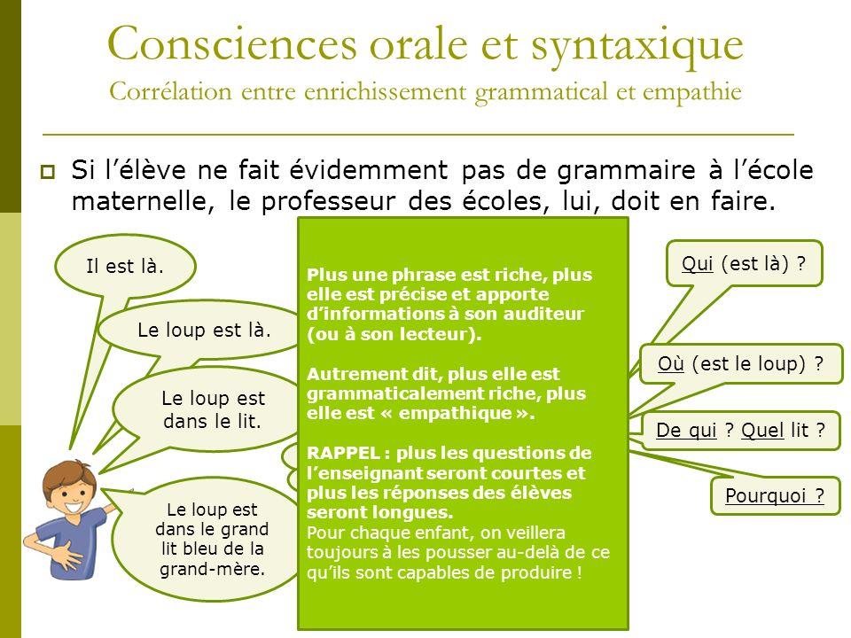 Consciences orale et syntaxique Corrélation entre enrichissement grammatical et empathie