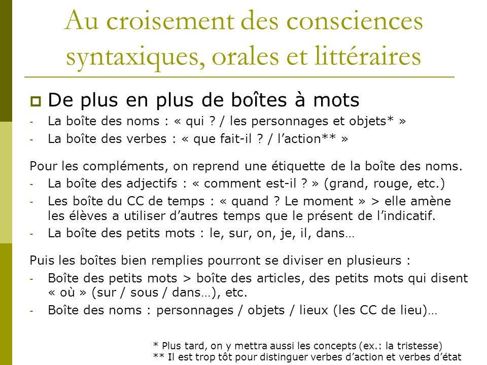 Au croisement des consciences syntaxiques, orales et littéraires