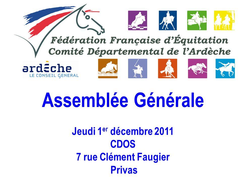 Assemblée Générale Jeudi 1er décembre 2011 CDOS 7 rue Clément Faugier