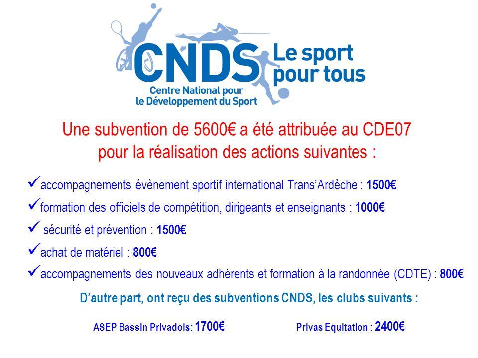 Une subvention de 5600€ a été attribuée au CDE07
