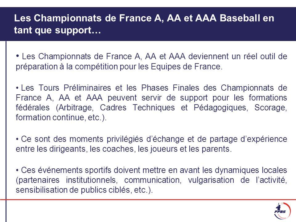 Les Championnats de France A, AA et AAA Baseball en tant que support…