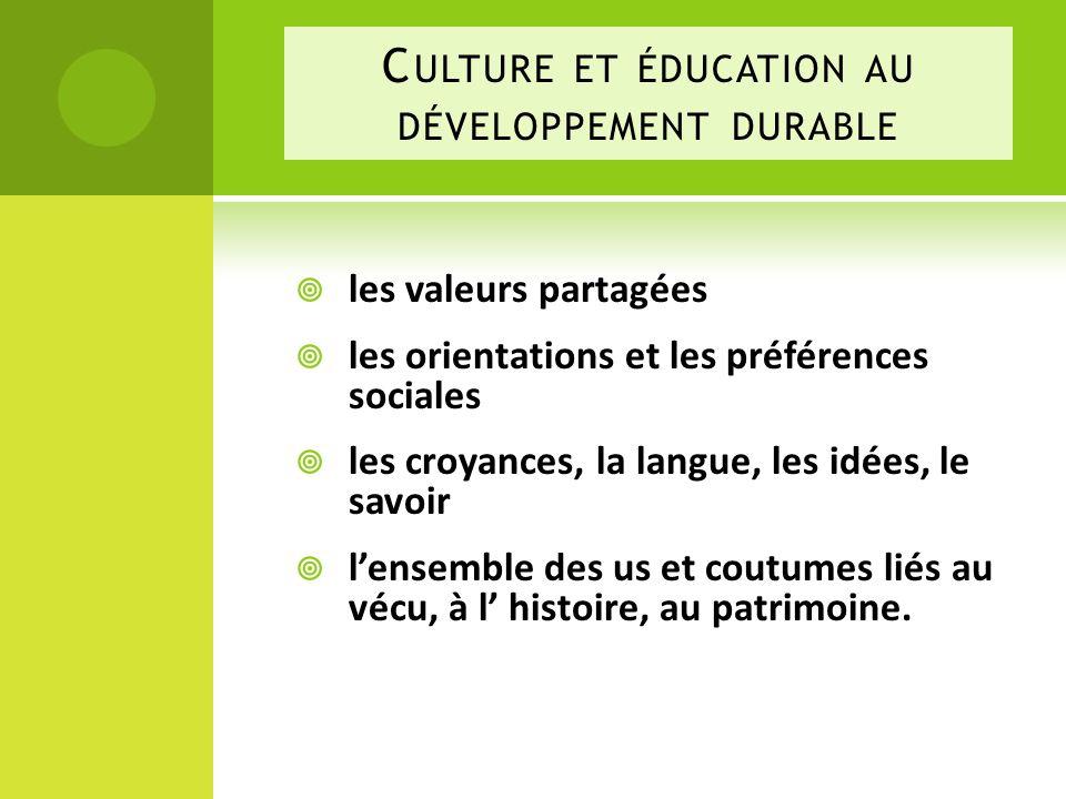 Culture et éducation au développement durable