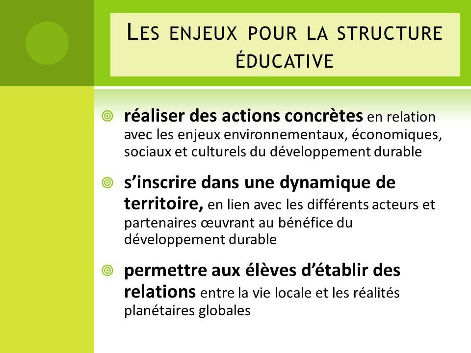 Les enjeux pour la structure éducative