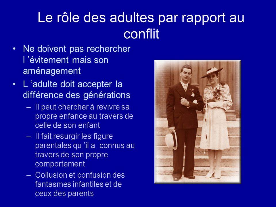 Le rôle des adultes par rapport au conflit