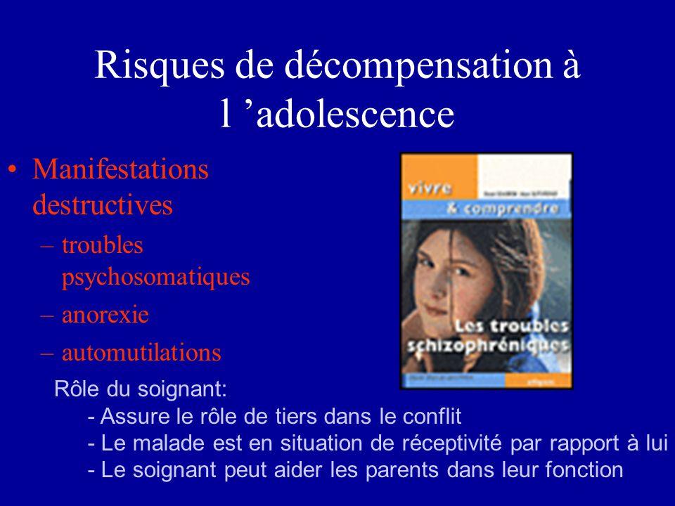 Risques de décompensation à l 'adolescence